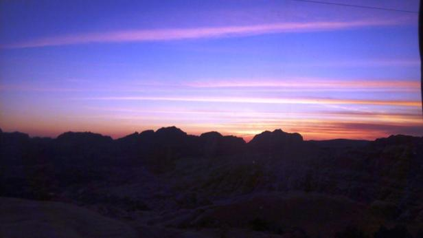 Sunset enroute Petra from Little Petra