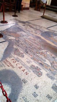 Mosaic Map of the holy land on the floor of St George Church, Madaba, Jordan