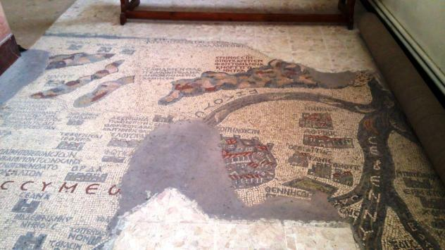 Holy land mosaic map on the floor