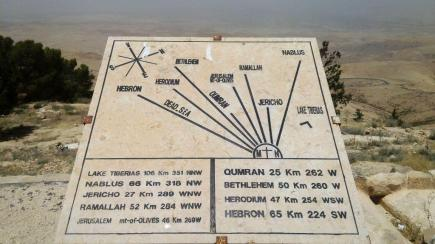 The depiction of the way to the holy land, Mount Nebo, Jordan