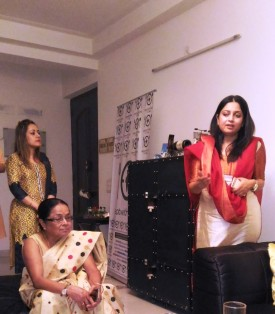 Chef Mamon Mahanta sits as Sonal Saxena talks about Assamese cuisine