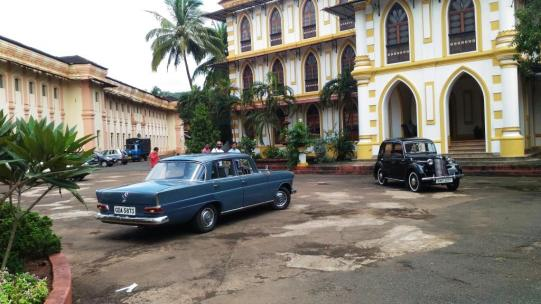 Vintage Mercedes owned by Jitendra Deshprabhu, who lives in the famous Portugese palace of Pernem, Goa, India