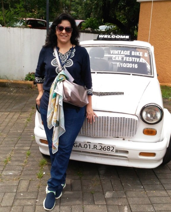 Took a ride in this vintage white fiat owned by Saby D'Souza at Goa's first Vintage Bike and Car rally 2016
