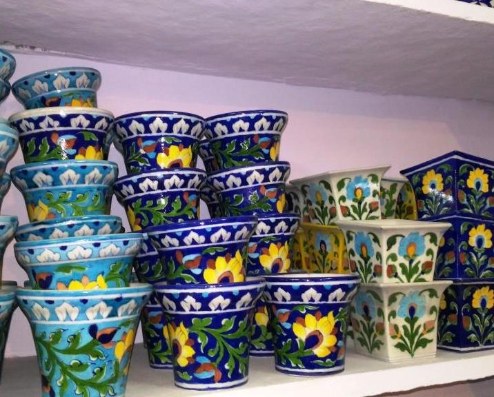 Blue pottery at Sanganer, Rajasthan, India