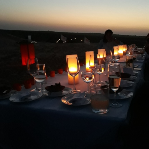 Enjoying sundowners at Desert National Park, Suryagarh, Jaisalmer, Rajasthan, India