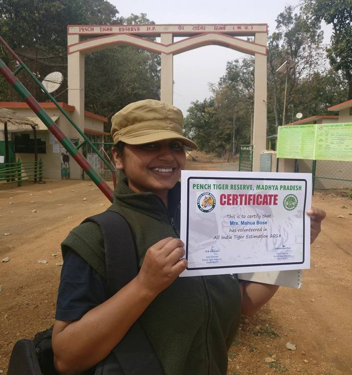 Certificate of participation in Tiger Census 2018, Pench Tiger Reserve, Madhya Pradesh, India
