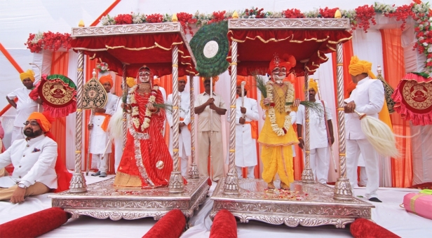 The idols of Isar Maharaj and Gangaur Mata reside at Rawla Moti Mahal, Shahpura, during Gangaur festival, Jaipur, Rajasthan, India