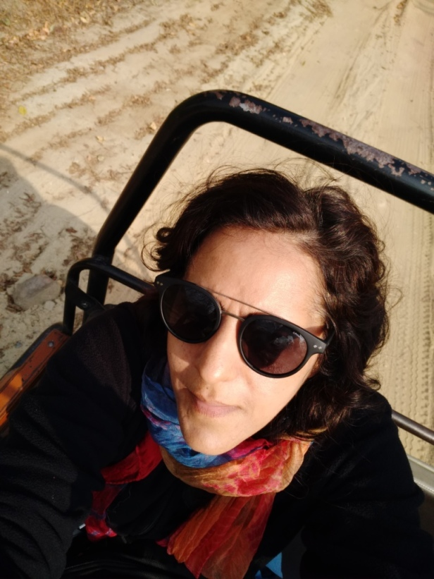 Selfie in a moving jeep, Corbett Tiger Reserve, Uttarakhand, India