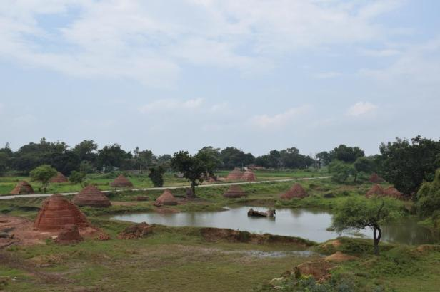 Crossing brick kilns in Chhattisgarh, India