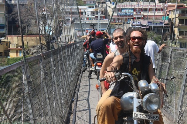 Bikers on the jhula, Rishikesh, Uttarakhand