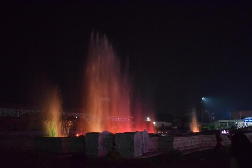 Musical fountains, Prem Mandir, Vrindavan, Uttar Pradesh, India