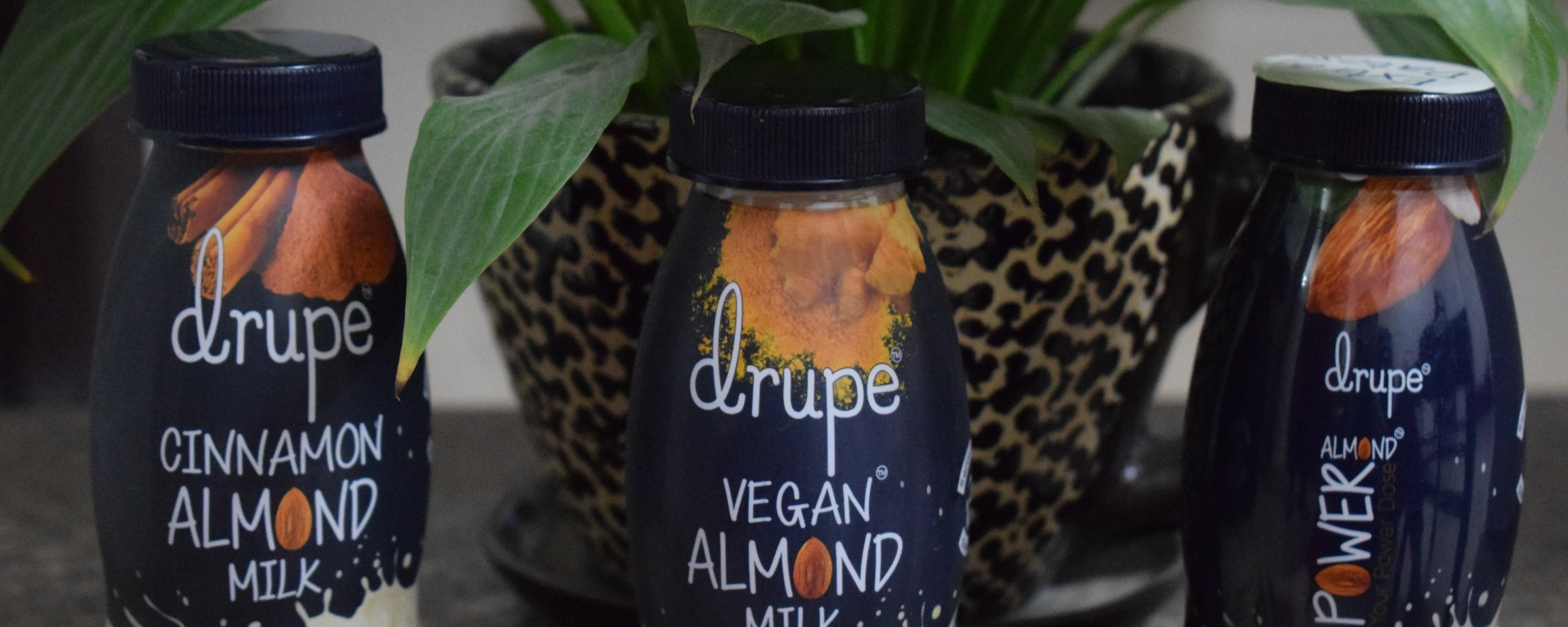Drupe Almond Milk in three variants--Cinnamon, Golden Power, Extra Dates