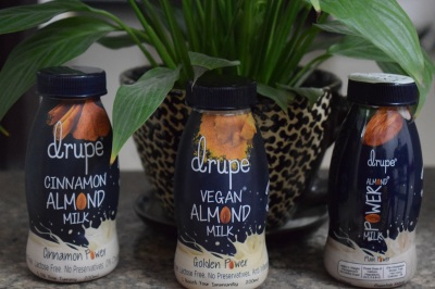 Drupe Almond Milk in three variants--Cinnamon, Vegan, Honey