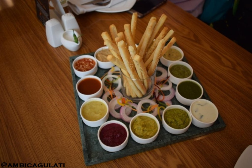Best place for Indian cusine--Chutney platter with 12 fresh dips, which includes Sweet chilli, Tamarind, Pineapple, Beet root, Kiwi, Broccoli, Coconut, Pudina, Zucchini, Mustard, Tomato, Garlic, The Metropolitan Hotel & Spa, Delhi, India