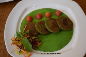 Indian cuisine--Bittergourd patty or Karela Kebab, The Metropolitan Hotel & Spa , Delhi, India