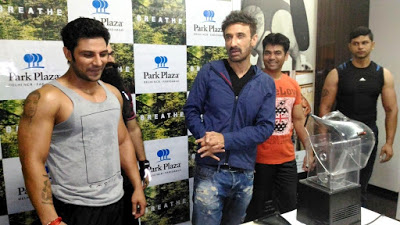 Actor Rahul Dev at his gym Breathe in Park Plaza Faridabad