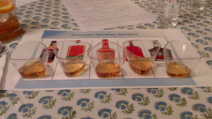 5 American whiskeys: Jim Beam Black Label, Bulleit Rye, Makers Mark, Woodford Reserve and Jack Daniels Silver Select