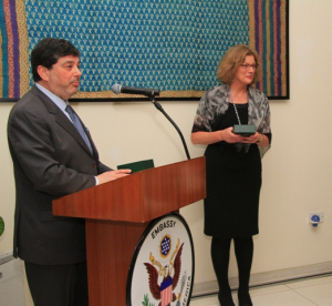 (left) Distilled Spirits Council Senior Vice President Frank Coleman and U.S. Chargé d' Affaires a.i., Ambassador Kathleen Stephens