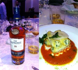 The Glenlevit 18 Yo with Baby spinach, with ricotta cannelloni Genovese pesto and Roma tomato sauce
