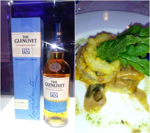 The Glenlivet Founder's Reserve with herb and parmesan cheese polenta porcini ragout and hazelnut oil