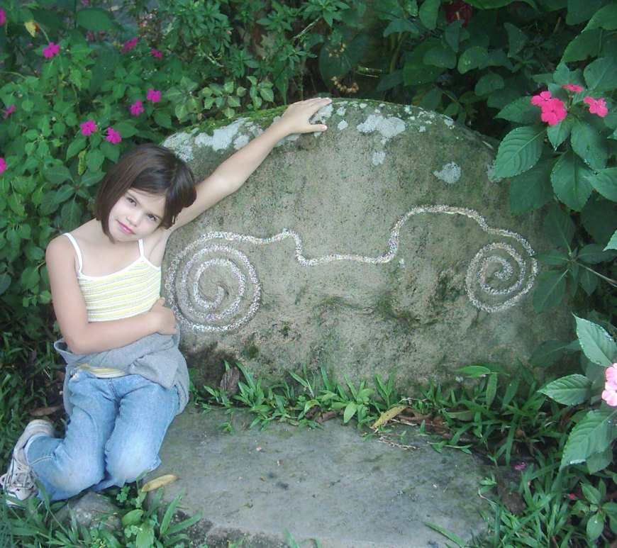 Natalie in front of an artifact at Sitio Barriles one of the most famous archaeological sites in Panama.