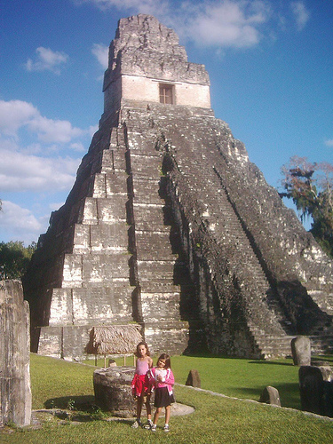 Jocelyn and Natalie in front of the Pyramids at Tikal National Park, Guatemala