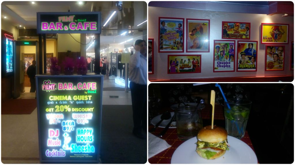 Fast food and Indian cuisine at Filmy Cafe and Bar, Connaught Place, New Delhi