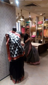 Ikat saris at ekaya, Delhi, India