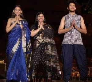 Seema Mishra, founder, Maheshwari Creations, at a fashion show held at the Mandu Festival