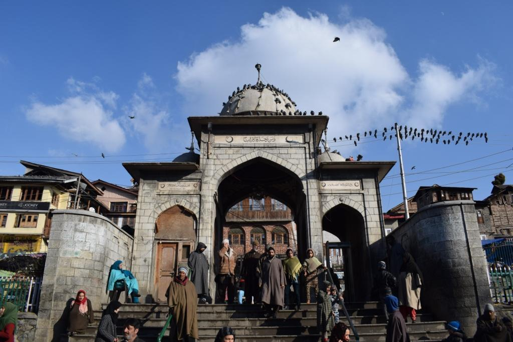 Sunday outside the oldest mosque in Srinagar, Kashmir, India