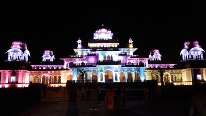 Albert hall museum at night, Jaipur, Rajasthan, India