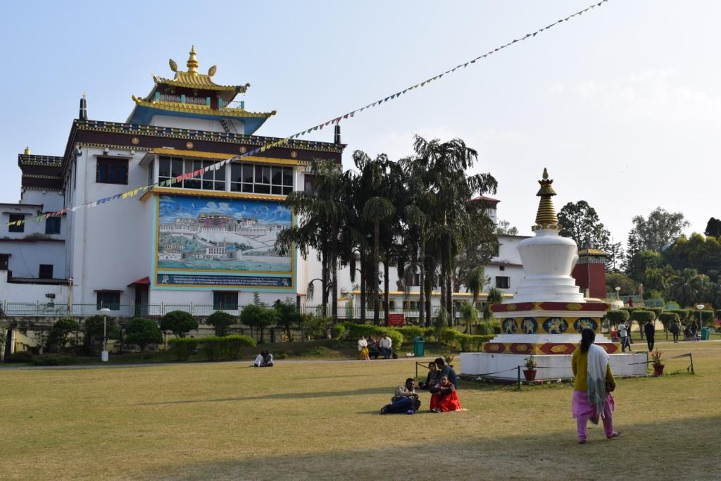 Mindroling Monastery garden. people enjoy their holidays here, Clement Town, Dehradun, Uttarakhand, India