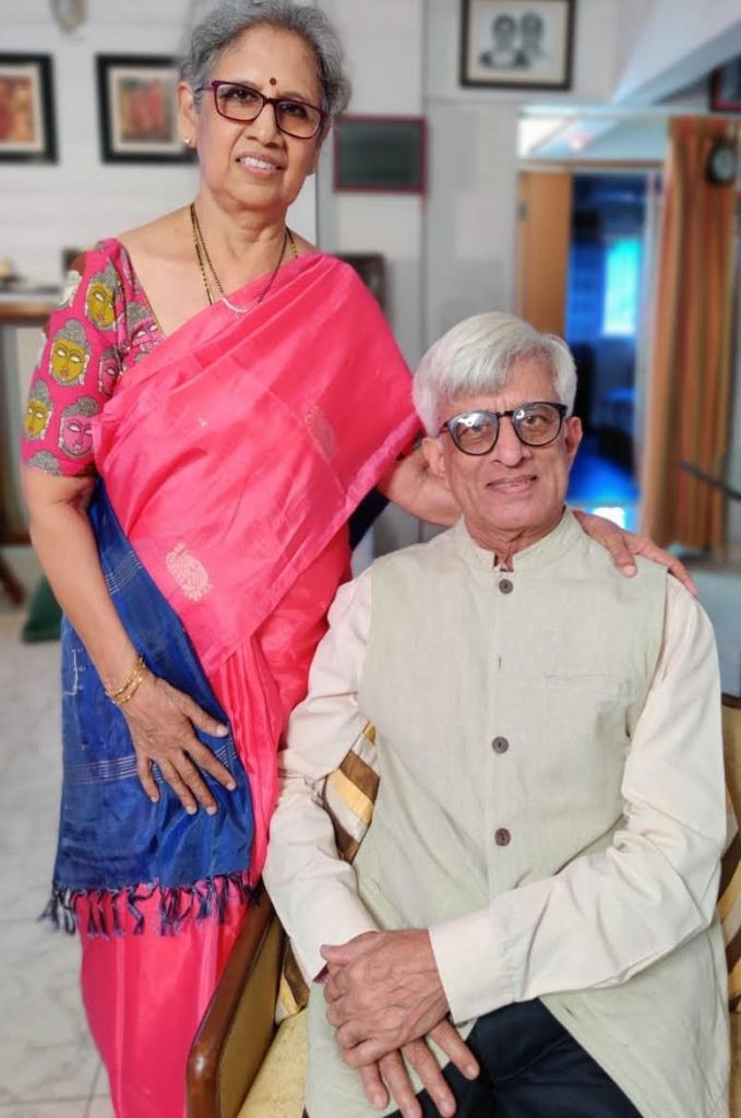 Wing Commander Sundaram Krishnamurthy (retd), along with his wife Sudha Krishna,  authors of Through The Rotor Disc