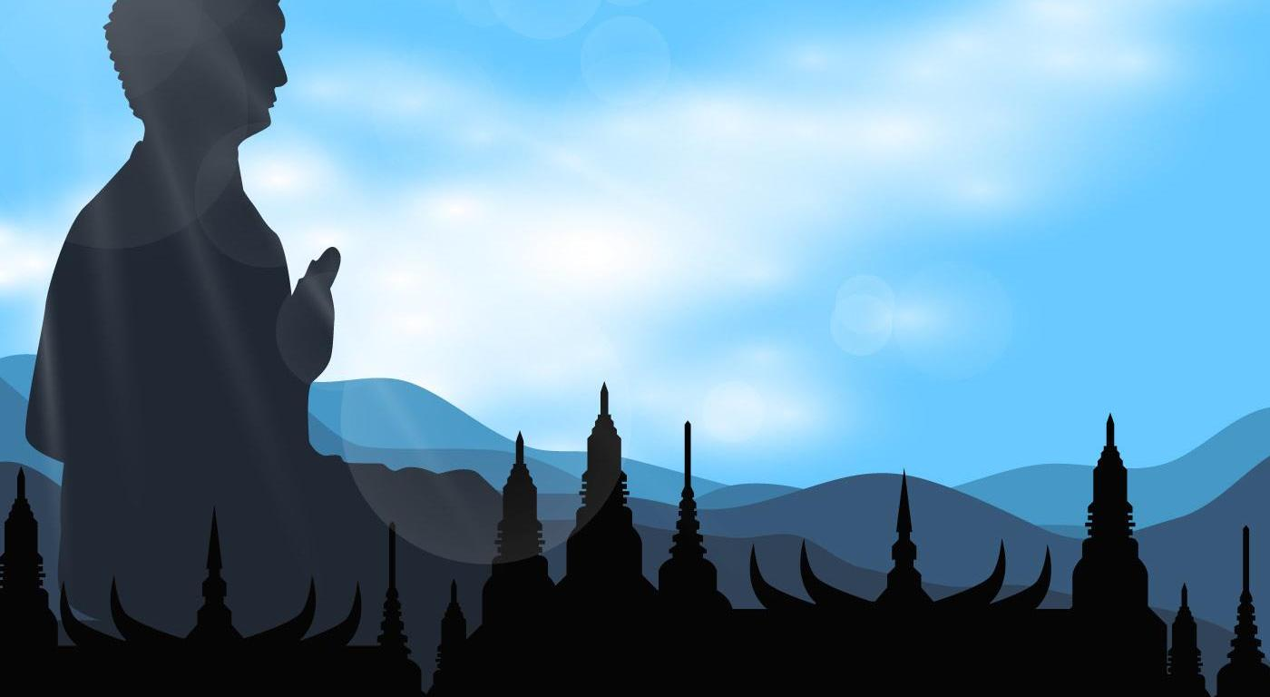 silhouette-of-buddah-in-the-temple-vector, Background Vectors by Vecteezy
