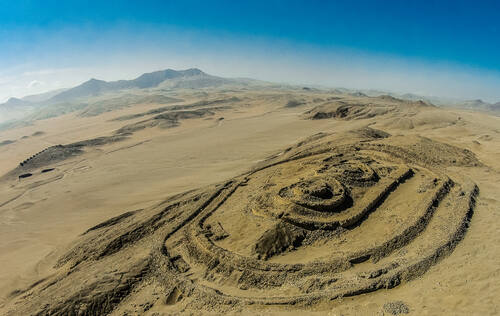 Chankillo Archaeoastronomical Complex, Aerial view of the Fortified Temple, Peru, © IDARQ