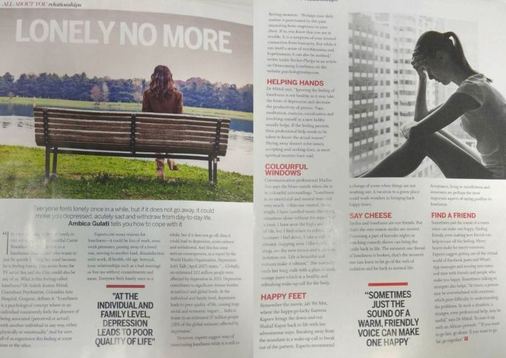 Loneliness article in Femina, May 2018